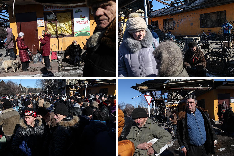 photo: Oleksandr Techynskyi 1, 2, 3, 4 - Гражданское население Дебальцево стоит в очереди в ожидании гуманитарной помощи. Площадь у здания городской администрации.
